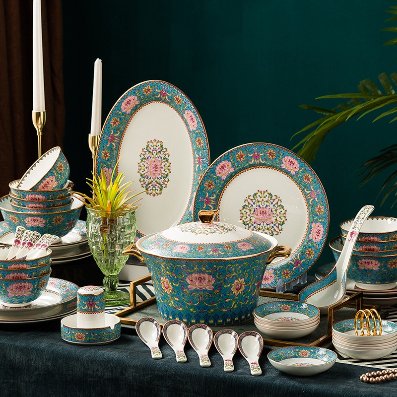 Jingdezhen أطباق من الخزف/ السيراميك الإبداعية المينا بنوم بنه مجموعة أدوات المائدة