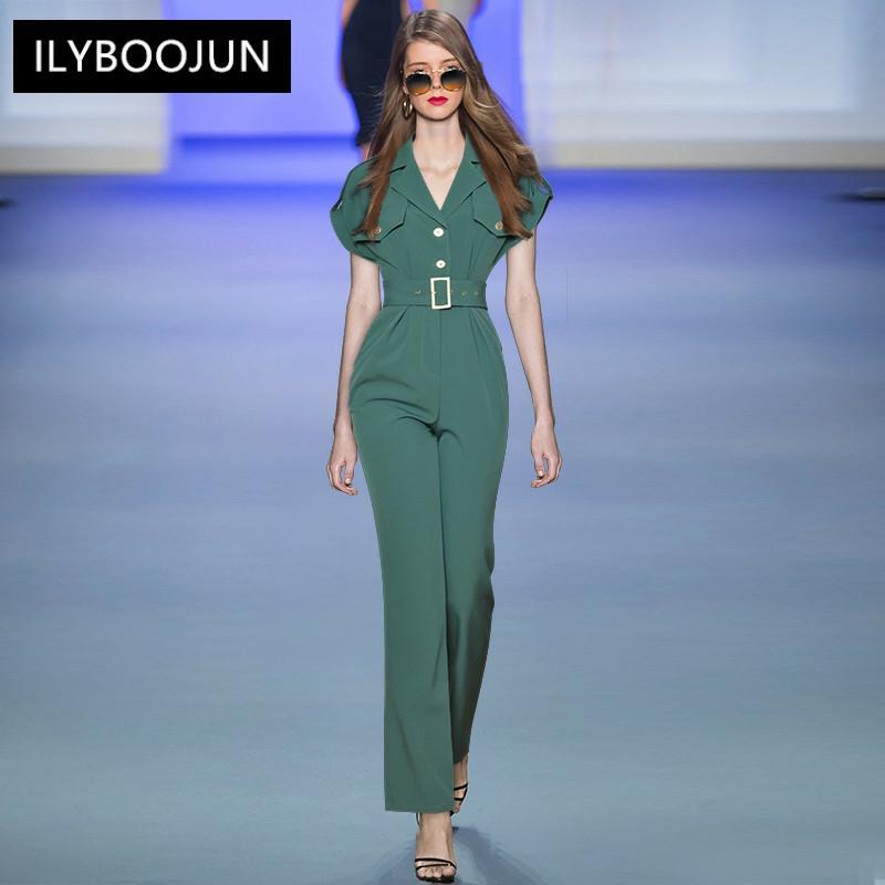 Summer Fashion Runway Bodysuit Women Short Sleeve Sashes Pockets Patchwork Jumpsuit Trousers Romper
