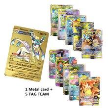 6 pçs/pçs/lote folhas pokemones metal cartão blastoise série ouro gx cartão pokemones coleção presente crianças jogo