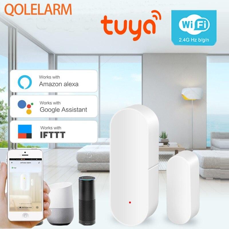 Tuya умный дом безопасности wifi двери сигнализации системы wifi окна двери сенсор детектор через приложение Совместимость Amazon Alexa Google Home