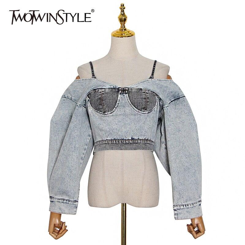 Женская джинсовая куртка TWOTWINSTYLE, короткая осенняя куртка составного кроя с воротником-лодочкой, рукавами-фонариками и открытой спиной, 2020
