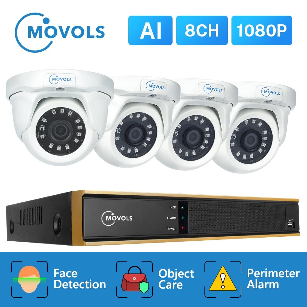 MOVOLS AI 2MP 8CH DVR H.265 Security Camera System 1080P Night Vision CCTV Kit  Waterproof Doom Security Video Surveillance Set