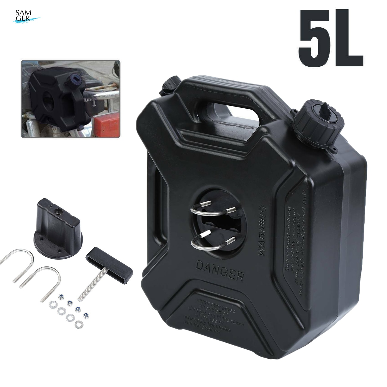 5l plastic jerry cans gas fuel tank suv motorcycle mounting kit Samger 5L Black Fuel Tank Can Car Motorcycle Spare Petrol Oil Tank Spare Container Anti-static Jerry Can Fuel Tank Pack Jerrycan