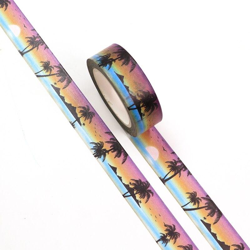 New 1PC 15mm*10m Seaside Sunset Holiday Decorative Washi Tape Scrapbooking Masking Tape Office Suppl