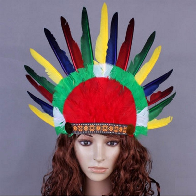 Diadema India tocado principal corona hecha de plumas y cuero de imitación perfecto para carnaval y cosplay
