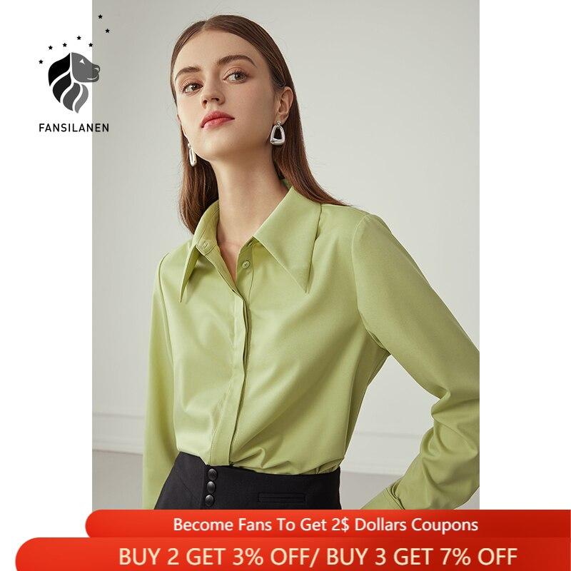 FANSILANEN مكتب سيدة بلوزة غير رسمية قميص المرأة طويلة الأكمام أنيقة الخريف الأزرق قميص علوي الإناث الربيع الأخضر Vintage بلوزة