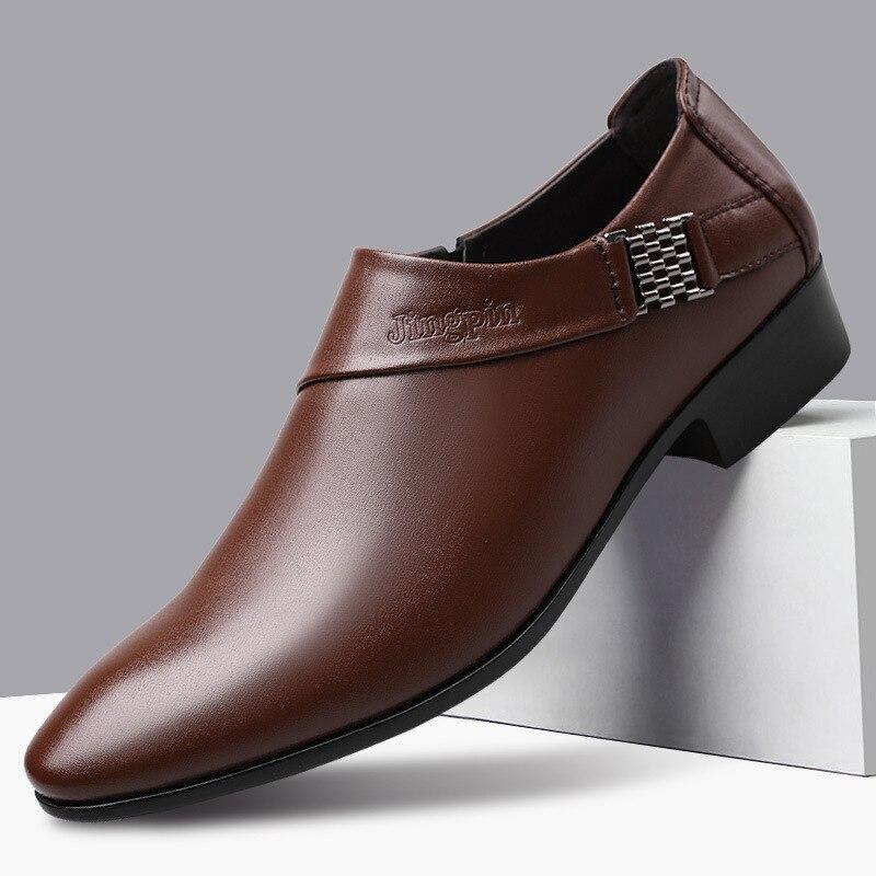 2020 جديد رجال الأعمال أوكسفورد أحذية الانزلاق على الأسود براون ذكر مكتب الزفاف أشار جلد بو للرجال أحذية فرومال فستان