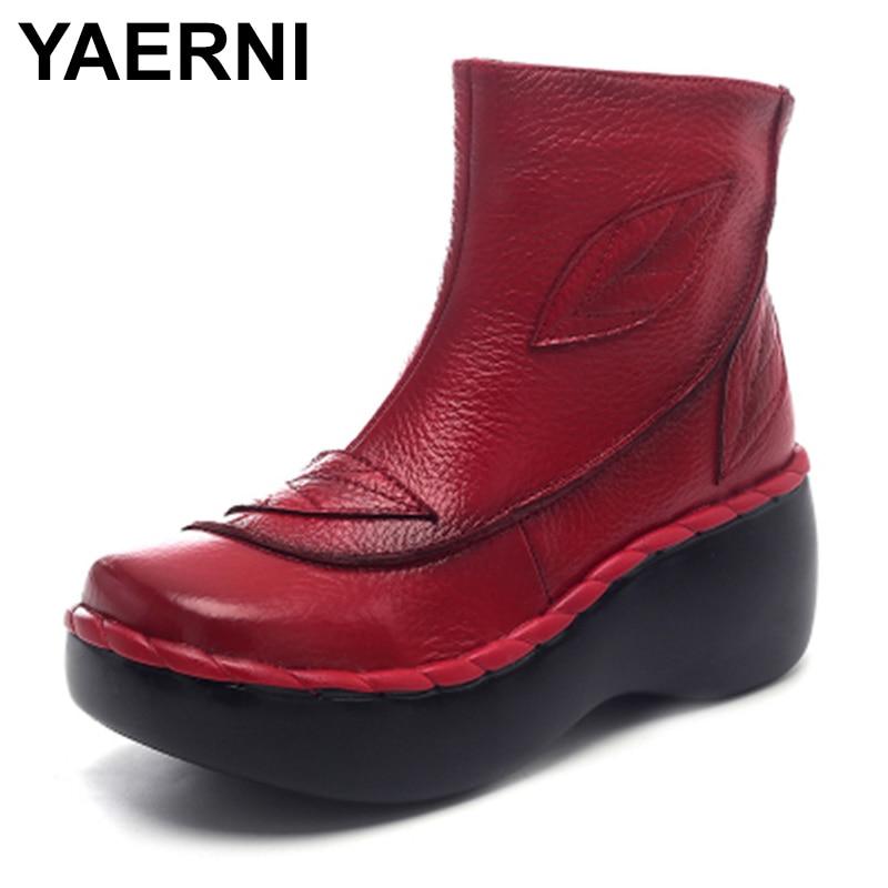 Yaerni botas de tornozelo feminino outono botas de couro genuíno artesanal senhoras sapatos mulher cunhas sapatos 2020 outono sola de borracha feminino