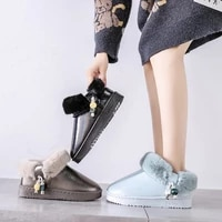 fashion the new women boots slip on snow boots round toe flat with winter ankle solid plush string bead high quality thicken pu