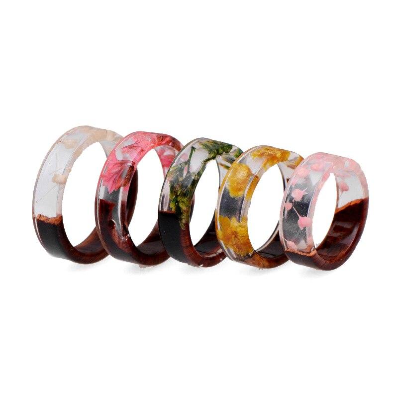 1 unidad, envío directo, nuevo diseño, anillos de epoxi, anillo de resina de madera transparente, anillo de resina hecho a mano, flor seca, epoxi, joyería de boda, anillo de amor hecho a mano