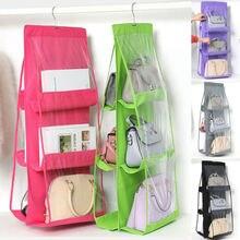 Hanging Storage Bag 6 Pocket Purse Handbag Tote Bag Storage Organizer Hanger Double Sides Hanging Storage Bag Wardrobe Closet