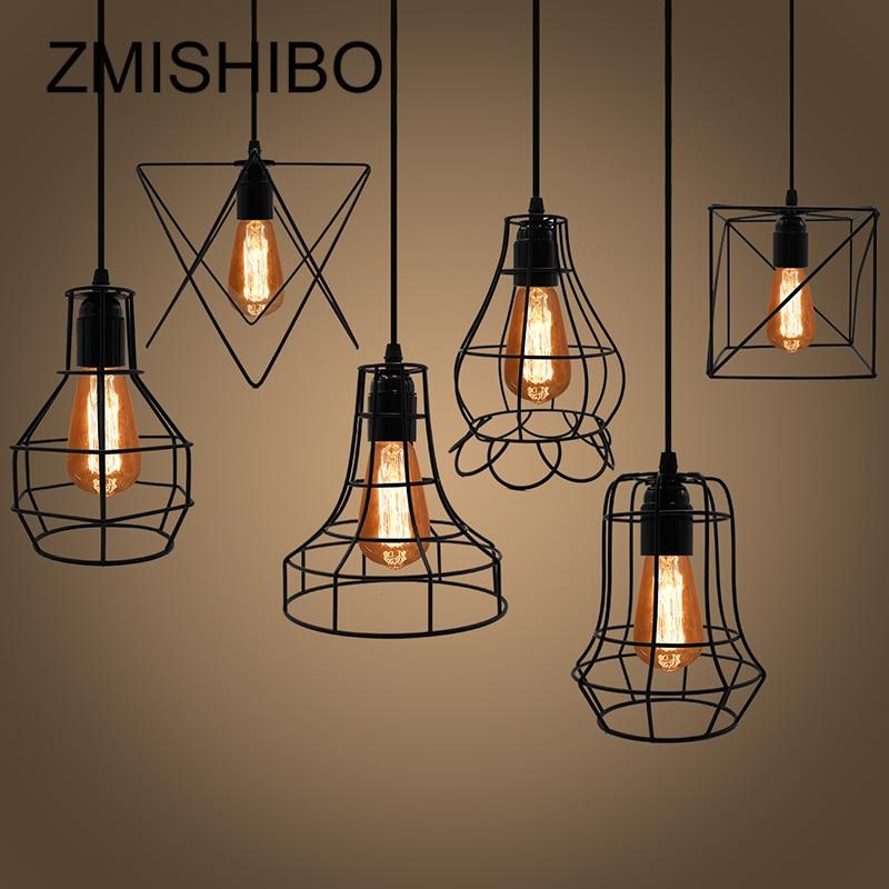 ZMISHIBO Irregular jaula de hierro diseño luces colgantes longitud ajustable lámpara colgante E27 lámpara colgante luminaria de suspensión del hogar