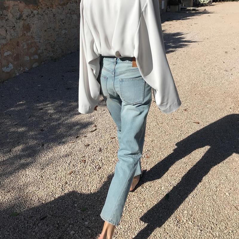 Женские джинсы с асимметричным вырезом, винтажные прямые джинсы с эффектом потертости, Укороченные прямые джинсы краску, модель 2019 года фото