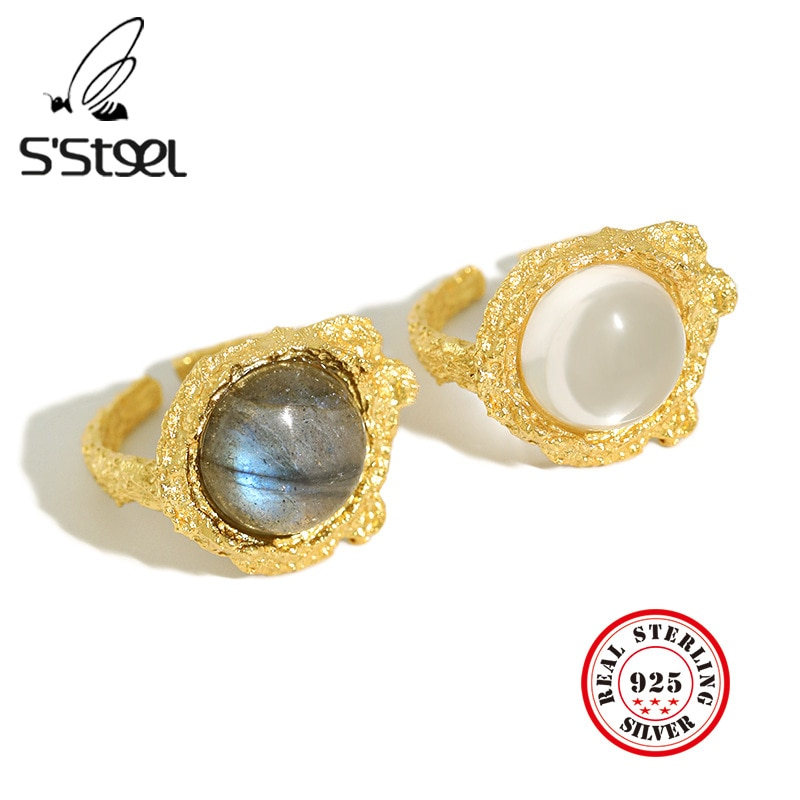 Saço moonstone anéis para mulher 925 prata esterlina branco cristal ouro luxery anel anillos plata 925 para mujer jóias finas