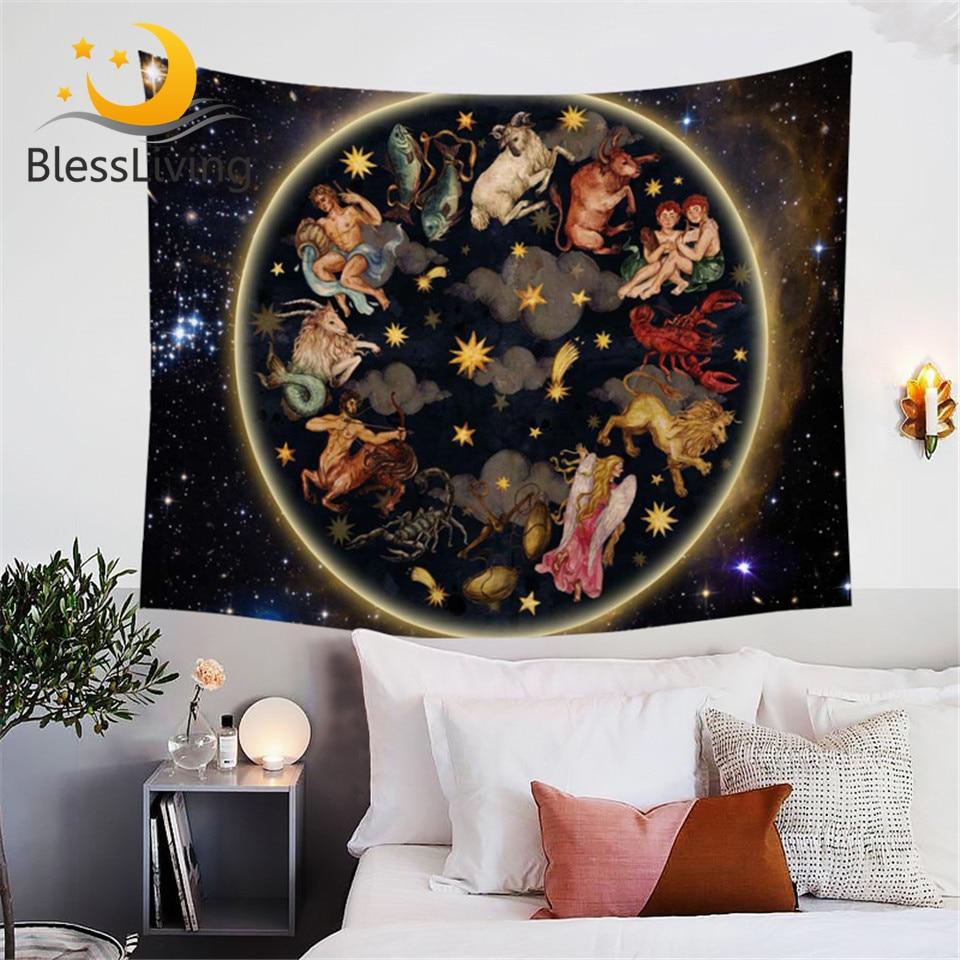 Blessing Living Galaxy Tapestry animales antiguo arte celeste asiático tapices decoración de hogar para colgar en la pared 3d Oriental sábana de cama 150x200
