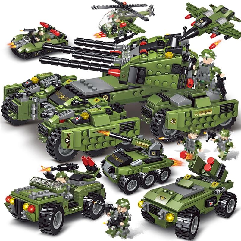 2020 710 Uds tanque de bloques de construcción vehículo avión niño juguetes figuras bloques educativos militar Compatible LegINGlys ladrillos