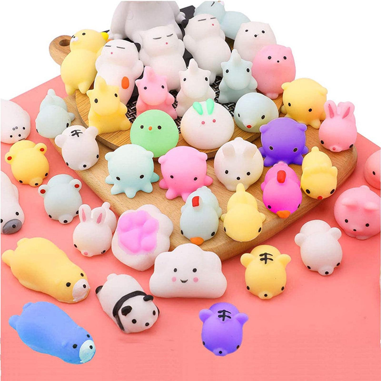 50 шт., мягкие игрушки Kawaii, милые животные, антистресс, мячик, сжимаемые Моти, поднимающиеся игрушки, мягкие липкие игрушки для снятия стресса ...