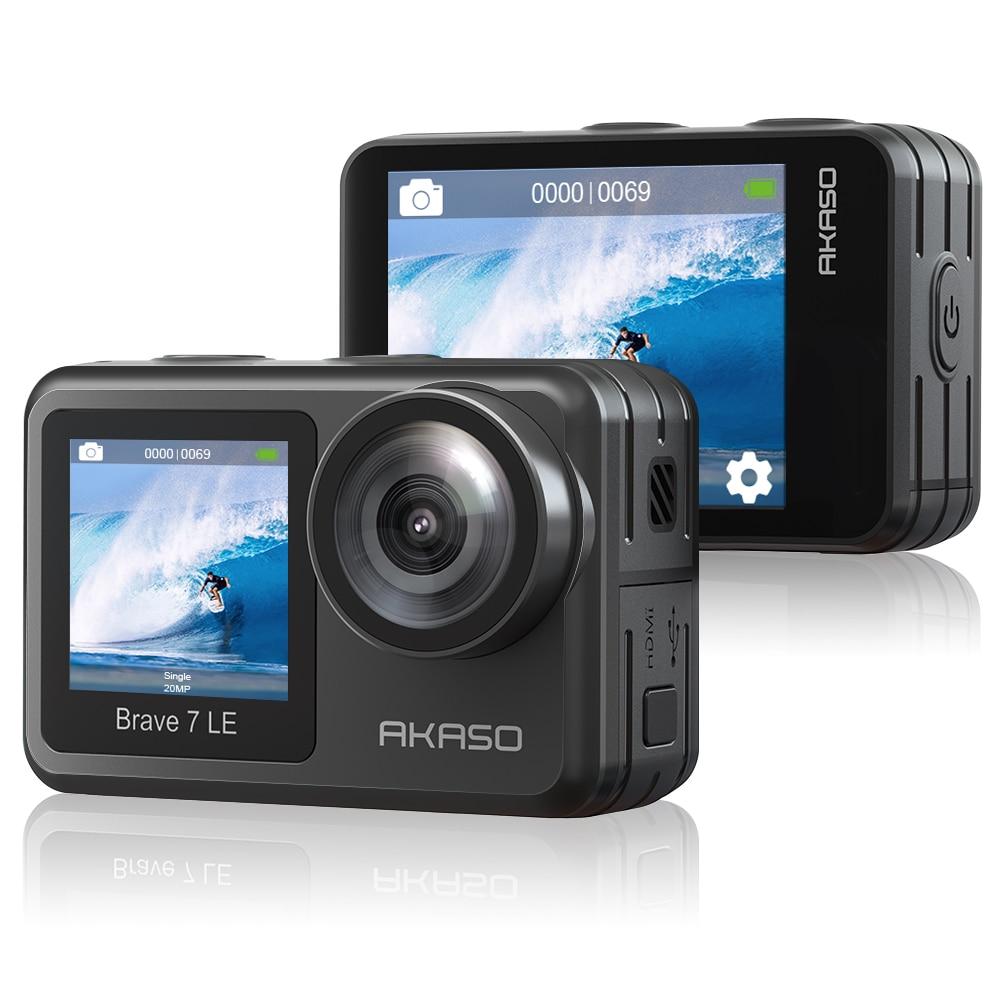 AKASO-كاميرا أكشن رياضية مقاومة للماء تعمل باللمس ، جهاز تحكم عن بعد ، 4K ، 20 ميجابكسل ، WiFi ، Vlog ، 7 LE ، 4k30 إطارًا في الثانية ، EIS 2.0