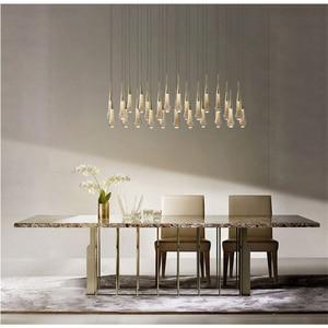 Modern LED Glass Crystal Pendant Lights Living Room Light Staircase Living Room Interior Decor Villa Lamp Lighting Hanging Lamp