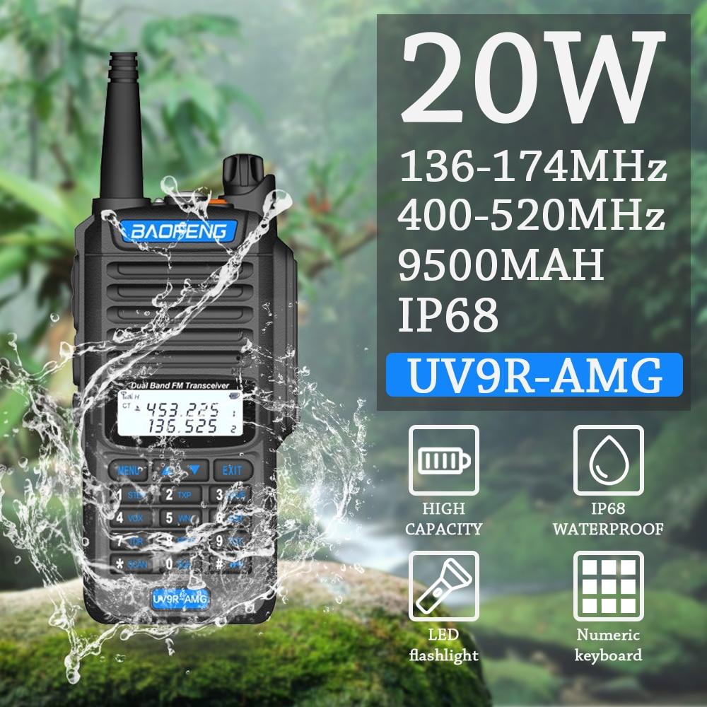 Baofeng UV-9R AMG 20W 9800MAH Waterproof IP67 Walkie Talkie High Power CB Ham 20KM Long Range UV9R AMG Portable Two Way Radio