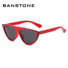 BANTONE Women Cat Eye Sunglasses Vintage Brand Design Sexy Oversize Frame Flat Top Plastic Lenses UV