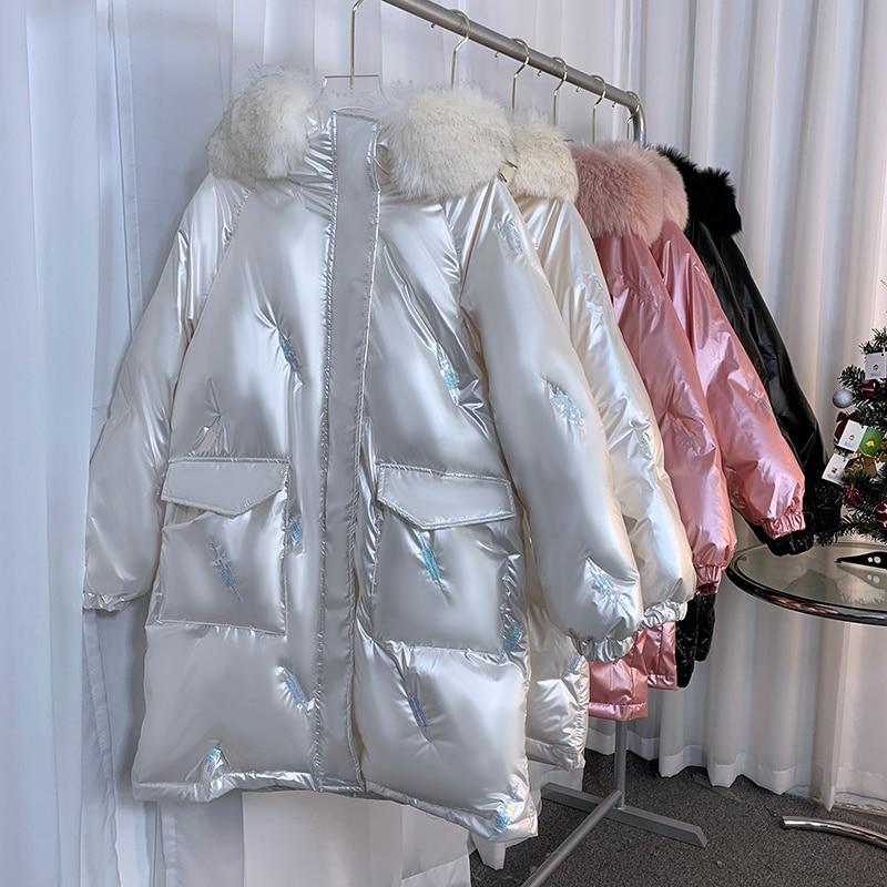 2021 пальто, куртка, Зимние Женские глянцевые парки с капюшоном, высококачественные женские зимние женские толстые теплые пуховики на белом у...