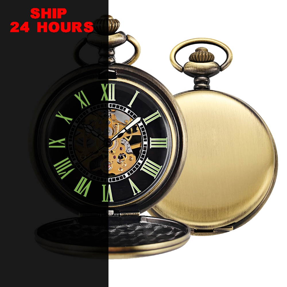Steampunk Bronze Pocket Watch for men Luminous Retro Necklace Skeleton Mechanical Pocket & Fob Watches With Chain Clock vintage skeleton elegant pocket watch steampunk automatic mechanical black fob clock chain men women gift for christmas p2051c