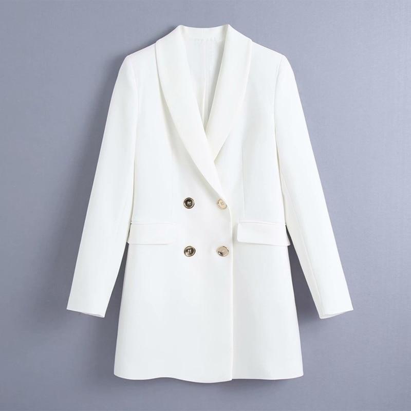DOUJILI 2021 белый черный хаки двубортный женский офисный костюм пальто высокого качества однотонные женские блейзеры с длинным рукавом