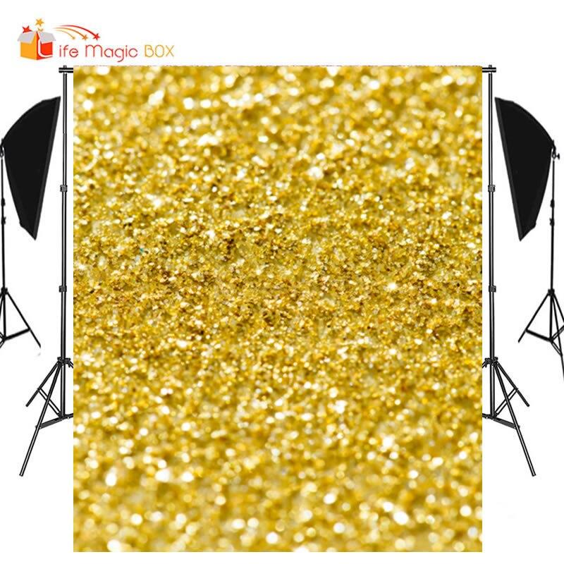 Vida caixa mágica brilho pano de fundo cor dourada amarelo fundos para estúdio de fotos bebê pano de fundo real príncipe decorações