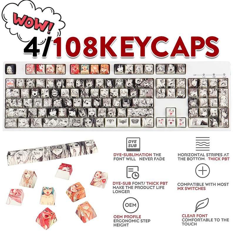 108key PBT Ahegao كاي كابس صبغ التسامي OEM الشخصي انمي ياباني Keycap ل الكرز Gateron Kailh التبديل لوحة المفاتيح الميكانيكية