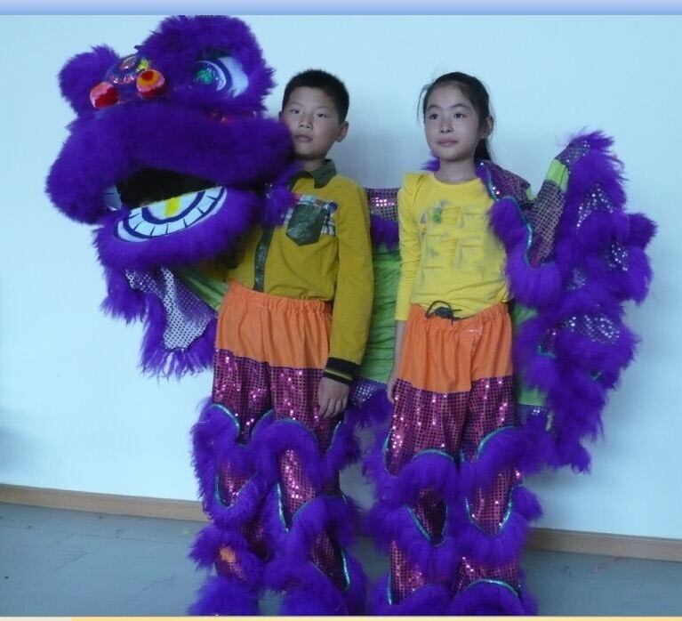 Purple Lion Dance Costume  2 Player 8-12 Age Children Play Party Performance Sport Outdoor Parade Folk Parad Stage Mascot China