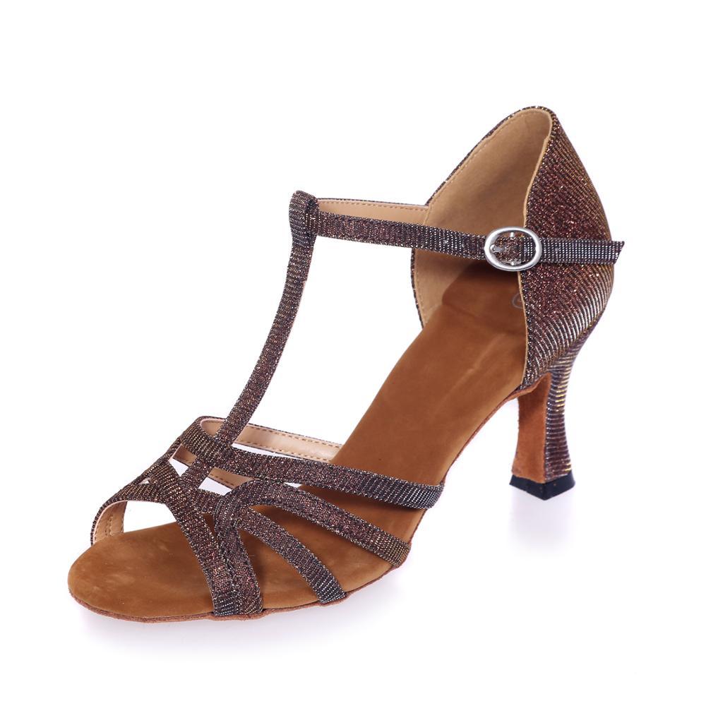 أحذية رقص لاتينية نسائية بكعب 7.5 سنتيمتر ، صنادل رقص لاتينية احترافية ، سالسا تانجو للحفلات