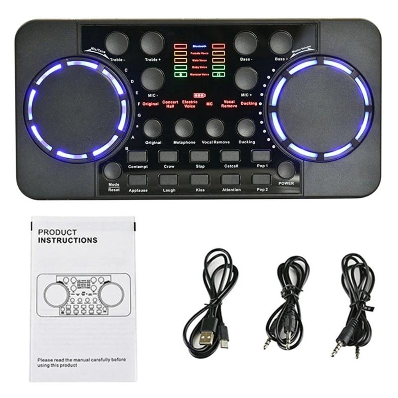 T3LB صوت الدردشة الغناء البث المباشر كارت الصوت تسجيل الكمبيوتر المنزل الخارجية USB ميكروفون سماعة الرأس