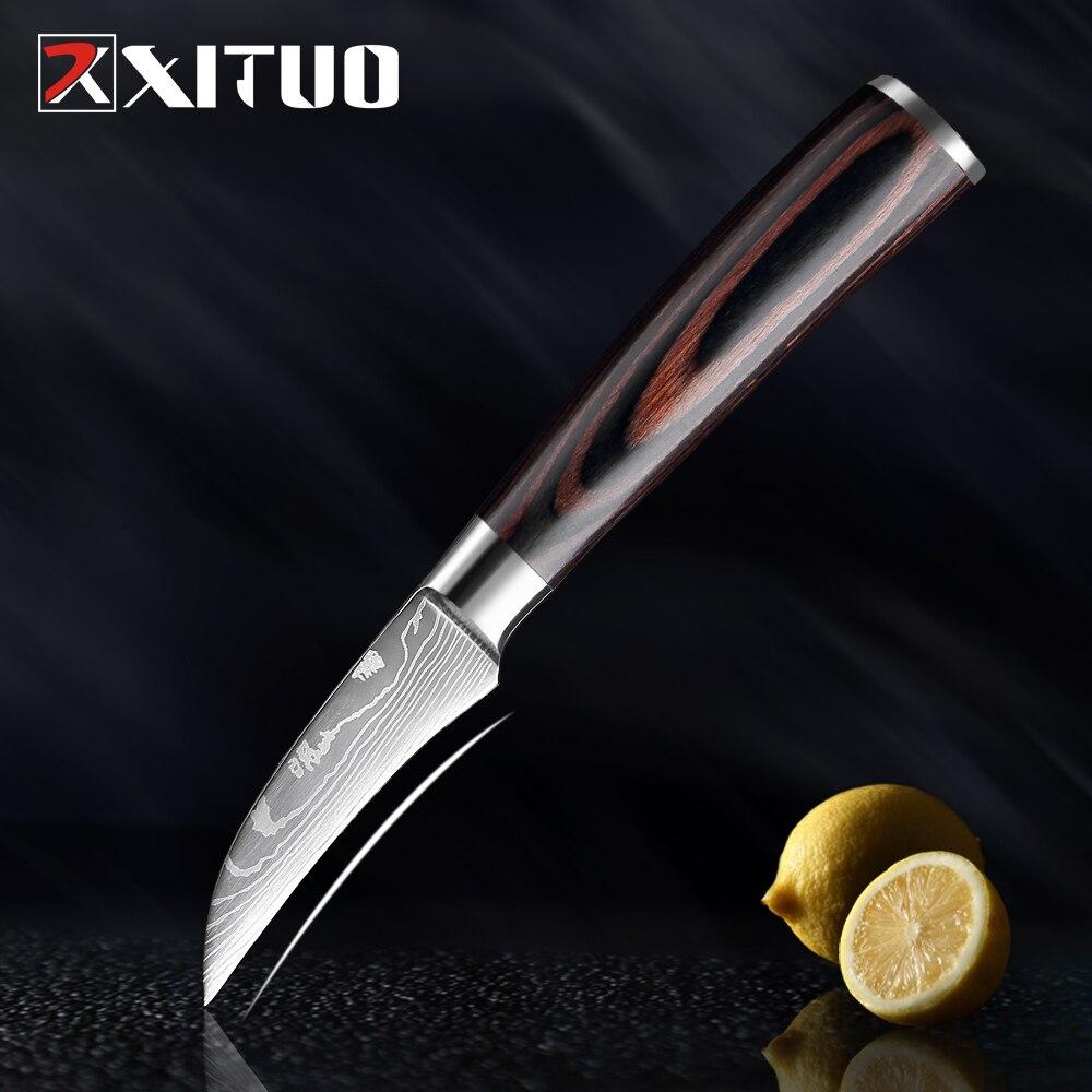 XITUO 3,5 дюймовый кухонный нож шеф-повара нож для фруктов нож для очистки овощей 7Cr173 нержавеющая сталь узор Цвет деревянная ручка инструмент д...