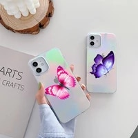 beauty butterfly phone case for iphone huawei p 7 8 9 11 12 10 30 40 s x xs xr mini pro max plus laser transparent
