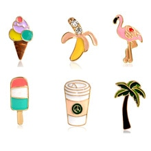 Cute 1Pcs Palm Tree Flamingo Ice Cream Popsicles Banana Coffee Cups Pins Button Animal Metal Brooch Bag Jacket Collar Badge