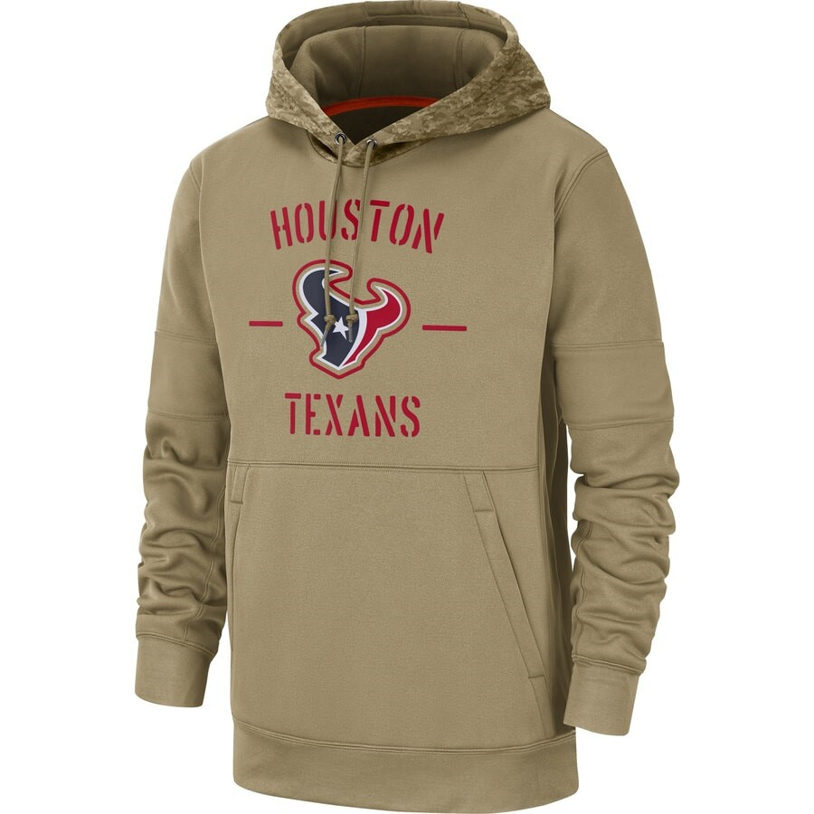 Houston Men  American football Sweatshirt Texans 2019 Salute to Service Sideline Therma Pullover Hoodie Tan