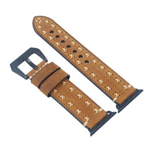 Men's Replacement Cow Leather Wrist Band Strap for Apple Watch iWatch Series