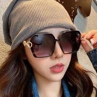 new arrived fashion metal frame sunglasses for women high quality gradient len glasses oversized square travel sun glasses uv400