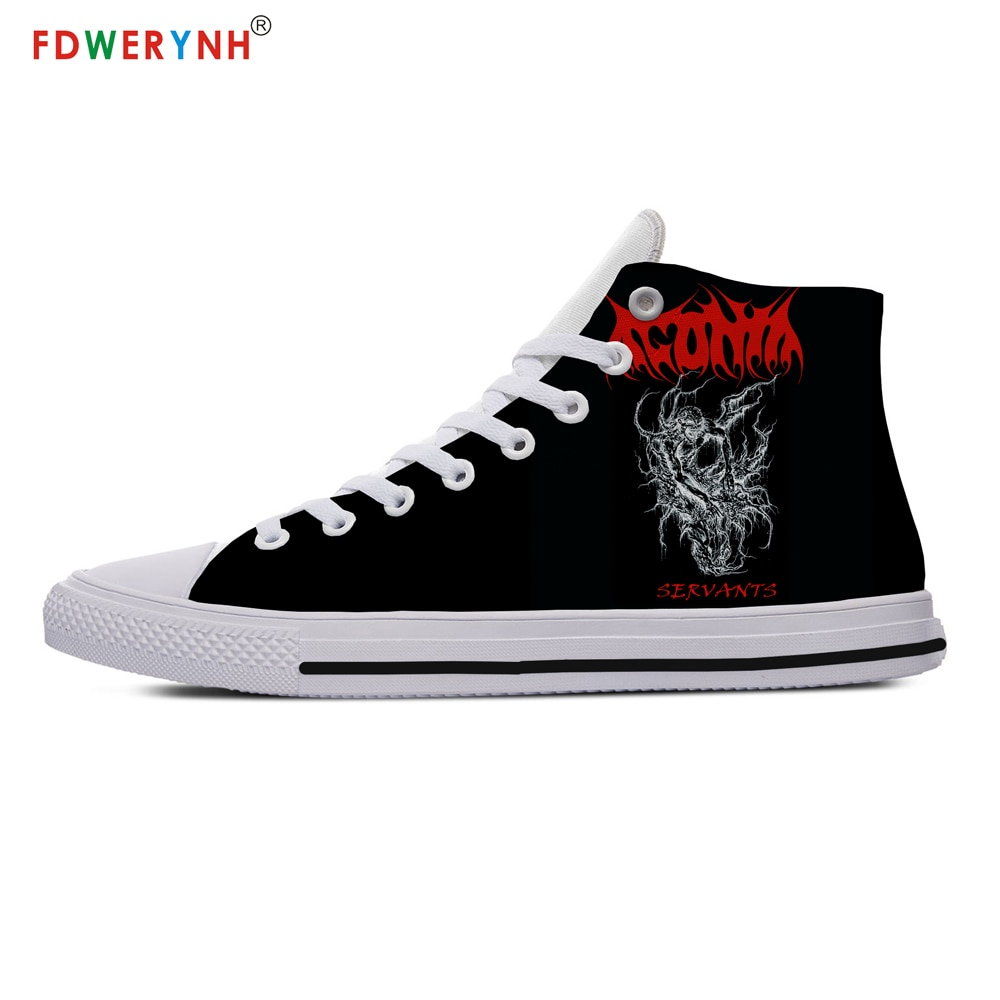 Deicide Band Customized Printed Logo Shoes White High-top Canvas Shoes Breathable Casual Lace-up Shoes Sneakers Women