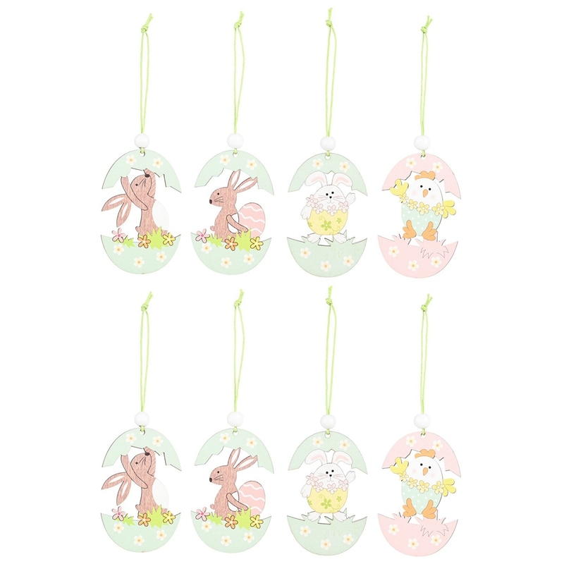 8Pcs Easter Decorations for Bunny Egg Shell Rabbit Wooden Hanging Ornaments Pendant Easter Eggs Wood Pendant Party Decor