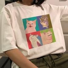 Korean Fun cat Spoof casual album gothic hip hop Ulzzang dropshipping  regular print Harajuku tee top punk clothes women tshirt