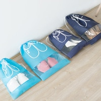 Travel Shoes Storage Bag Beam Mouth Non-woven Bag Transparent Dust Bag Shoe Bag