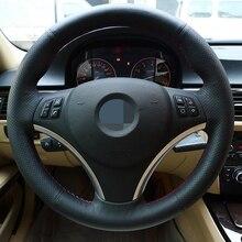 Housse de volant de voiture à coudre en cuir artificiel noir pour BMW 335i 330i 325i 320i E90 E87 120i 130i 120d accessoires de voiture