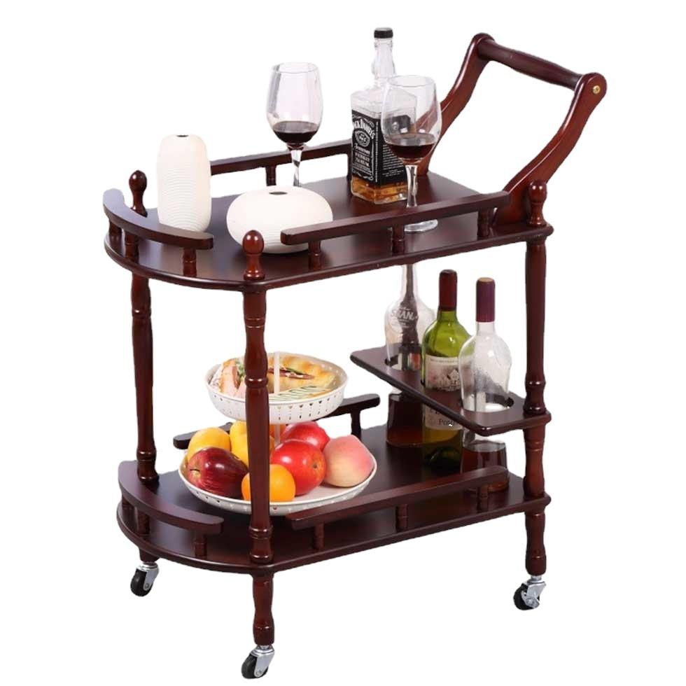 Тележка для обслуживания пищевых продуктов для ресторанов, коммерческие цены, 4-колесная тележка из твердого дерева для чайной кухни, тележ...