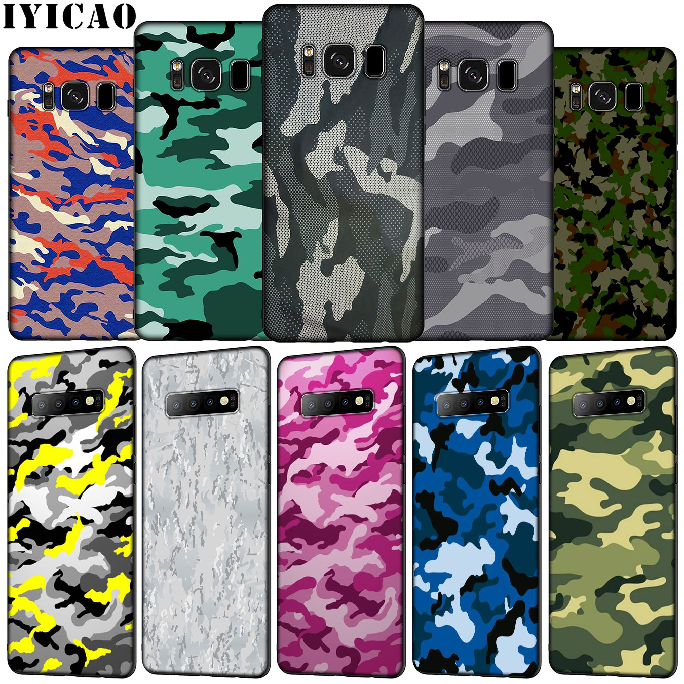 IYICAO de Camo del ejército camuflaje impresión patrón suave caso de teléfono para Samsung Galaxy S20 Ultra S10e S9 S8 más S6 S7 borde S10 Lite