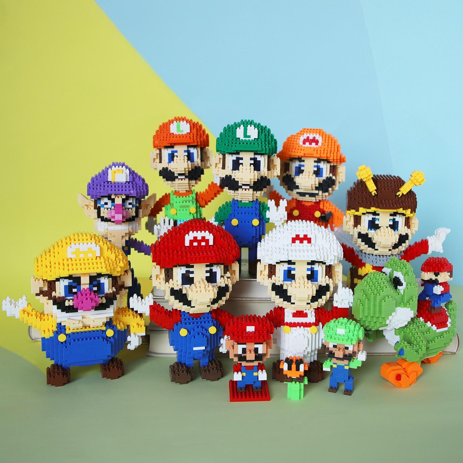 Мини-фигурки «Супер Марио» из мультфильмов, развивающие строительные игрушки, экшн-фигурки, детские игрушки для детей, подарки на день рожд...