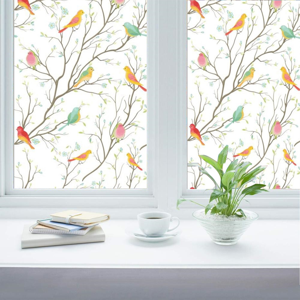 70*100 Cm aves flores decorativas vitral película adhesiva estática película vinilo ventana pegatinas helado privacidad ventana película
