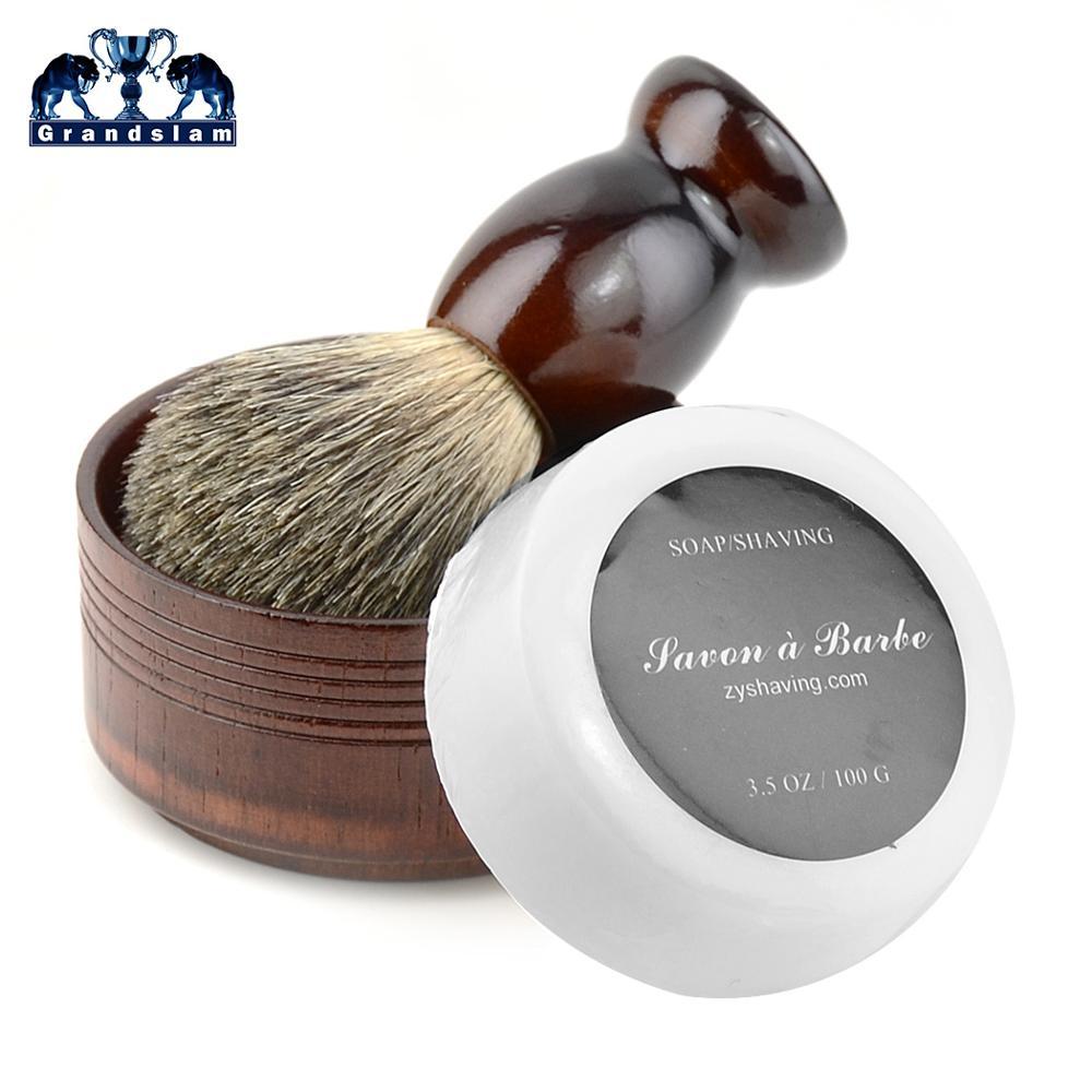 Cepillo de afeitar de tejón puro 3in1, mango de madera Natural, afeitadora, espuma, crema, taza, jabonera para hombres, maquinilla de afeitar de seguridad