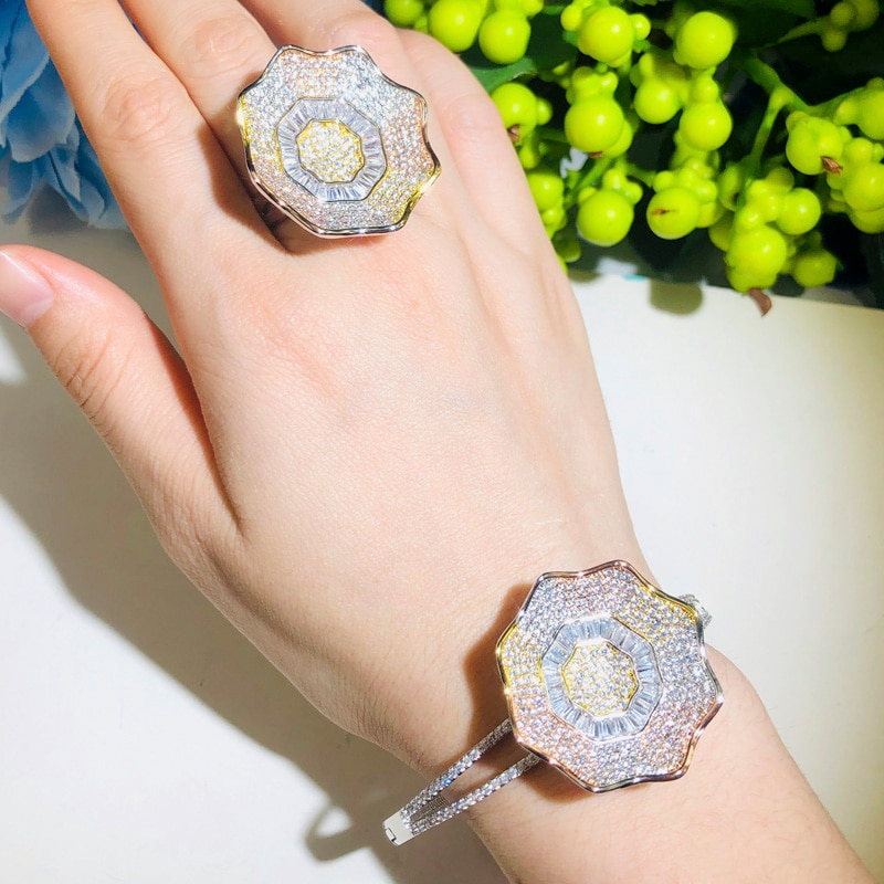 QooLady, brillantes novias de lujo, 3 tonos, juegos de joyas de flores de oro, CZ piedra, anillo grande, pulsera para mujer, accesorios de boda Z051